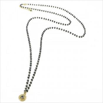 Sautoir Chapelet sur chaine perlée Anthracite avec médaille assortie - Bijoux fins et fantaisies