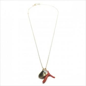 Collier sur chaine plaqué or médaille palourde et corail rouge - bijoux fins et fantaisies