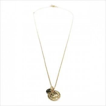 Collier sur chaine plaqué or médaille pièce de monnaie et médaille ronde martelée - Bijoux fins de créateurs