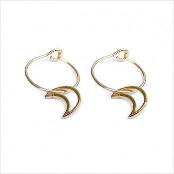 Boucles d'oreilles créoles pendentif lune évidé en plaqué or - Bijoux fantaisie