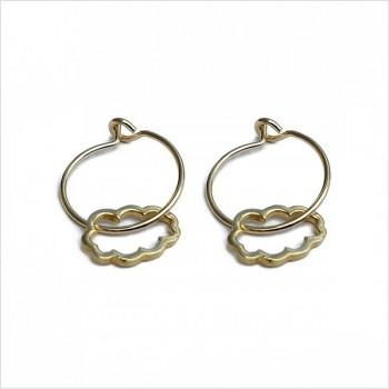 Boucles d'oreilles créoles pendentif nuage évidé en plaqué or - Bijoux fins et fantaisies