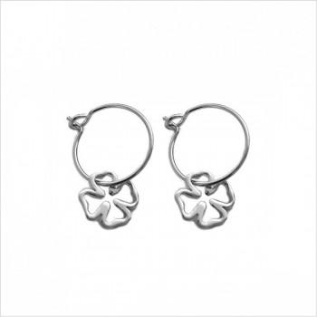 Boucles d'oreilles créoles pendentif trèfle évidé en argent - Bijoux fins et fantaisies