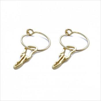 Boucles d'oreilles créoles pendentif guitare évidé en plaqué or - Bijoux fantaisie