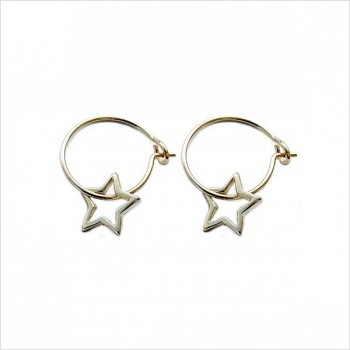Boucles d'oreilles créoles pendentif étoile évidé en plaqué or- Bijoux fantaisie