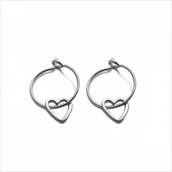 Boucles d'oreilles créoles pendentif coeur évidé en argent - Bijoux fins et fantaisies