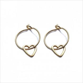 Boucles d'oreilles créoles pendentif coeur évidé en plaqué or - Bijoux fantaisie
