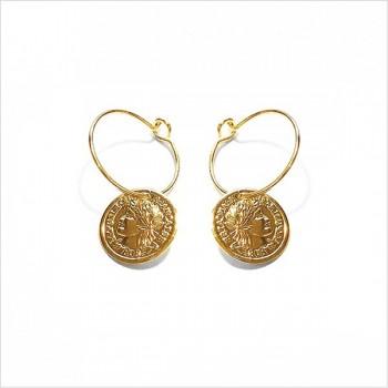 Créoles 15 mm pièce de monnaie pendante en plaqué or - Bijoux tendance