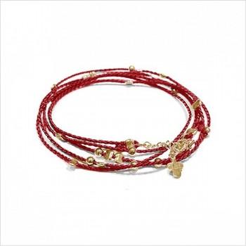 Bracelet lien rouge perles en plaqué or - Bijoux fantaisie