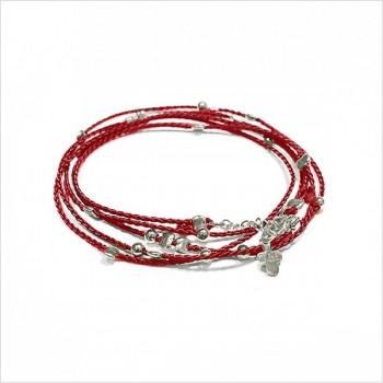 Bracelet lien rouge carmin perles en argent - Bijoux fantaisie