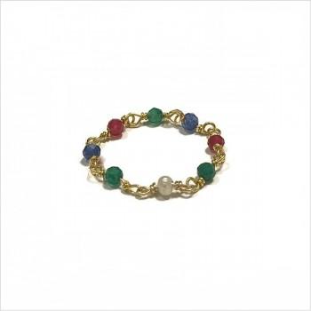 Bague sur chaîne en pierres fines en silimanite en plaqué or - Bijoux fins de créateur