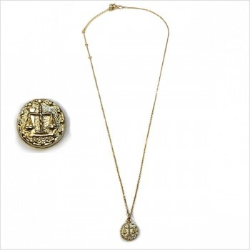 Colliers Zodiaque / Signe astrologique balance sur chaine plaqué or - bijoux fantaisie