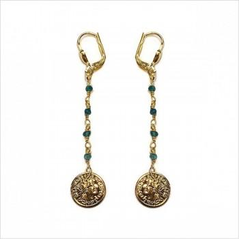 Boucles d'oreilles fine chaine de pierres fines apatite médaille pièce de monnaie pendante - Bijoux délicat