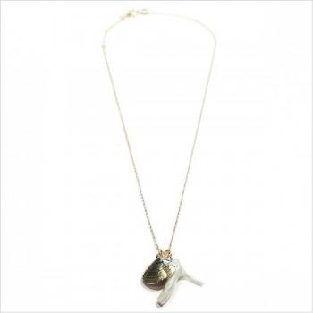 Collier Mao sur chaine plaqué or médaille palourde et corail blanc - bijoux modernes - gag et lou - bijoux fantaisie