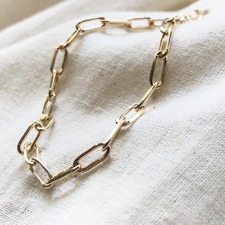 Bracelet sur chaine à fins maillons allongés en plaqué or - Bijoux fins et tendances