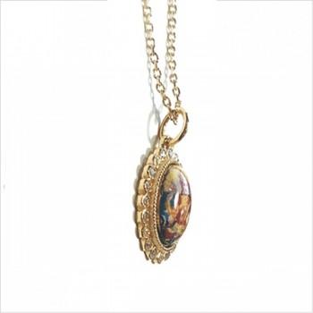 Collier médaille divinité émaillée indienne en plaqué or sur chaine - Bijoux fins orignaux de créateurs