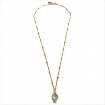 Collier sur chaîne perlée plaqué or médaille sertie calcedoine verte clair - Bijoux fantaisie