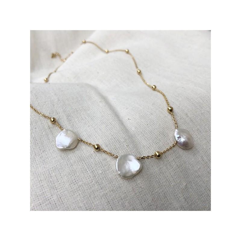 Collier perles nacrées baroques sur chaine perlée plaqué or - Bijoux fins et tendances