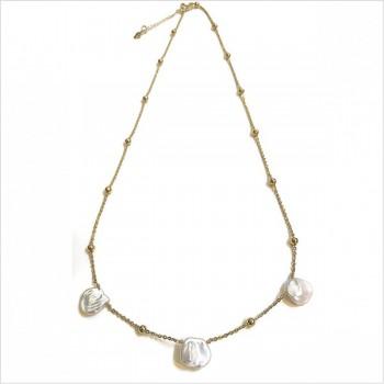 Collier Maddy avec médailles en pétales de perles fines sur chaine perlé en plaqué or - Bijoux modernes