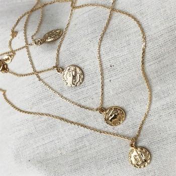Colliers Zodiaque / Signe astrologique assortis sur chaine plaqué or - bijoux modernes
