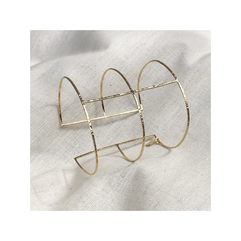 Double manchette fine une barre en plaqué or - Bijoux fins de créateur