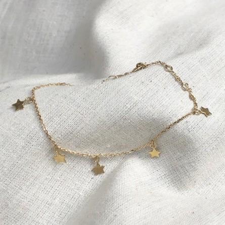 Bracelet petites médailles étoiles en plaqué or - Bijoux fins et fantaisies