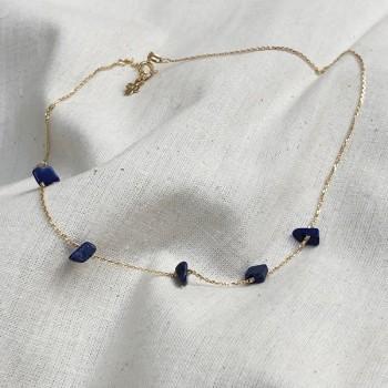 Collier plaqué or 5 pierres fines irrégulières en lapis lazuli - Bijoux fins et tendances
