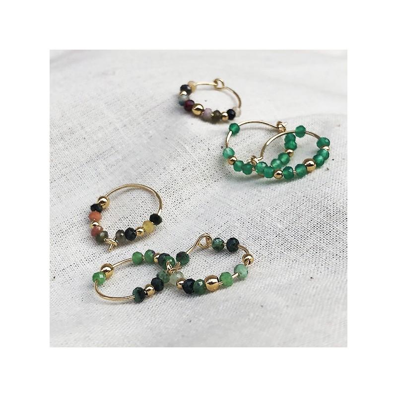 Boucles d'oreilles créoles 15 mm en plaqué or et pierres fines - Bijoux tendances