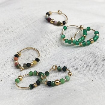 Boucles d'oreilles créoles 15 mm en plaqué or et pierres fines - Bijoux fins et tendances