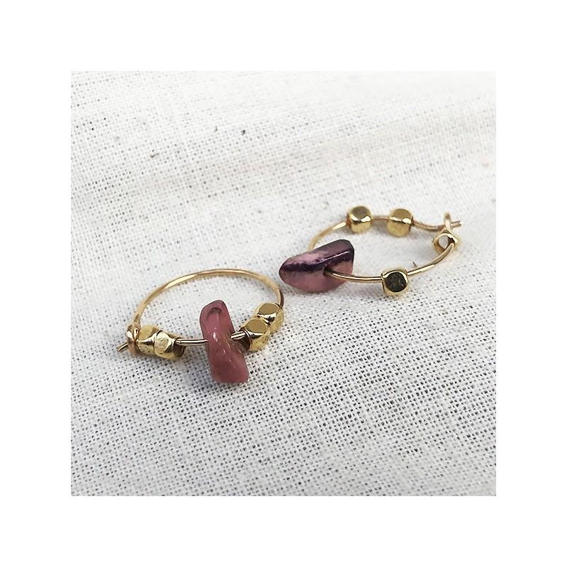 Créoles 15 mm plaqué or avec perles facettées et pierre fine Rhodochrosite rose - Bijoux tendance