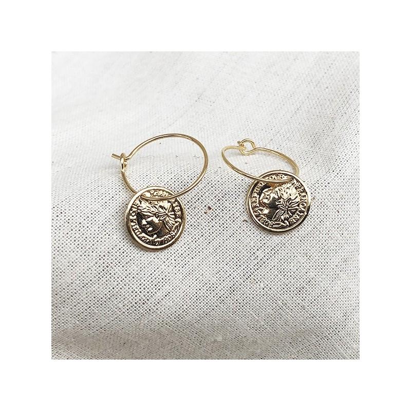 Créoles 15 mm pièce de monnaie pendante en plaqué or - Bijoux fins et tendances