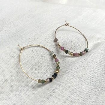 Boucles d'oreilles créoles 30 mm en plaqué or avec pierre fine en tourmaline multicolore - Bijoux fins et modernes