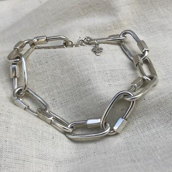 Bracelet grands maillons mousquetons en argent - Bijoux originaux de créateur