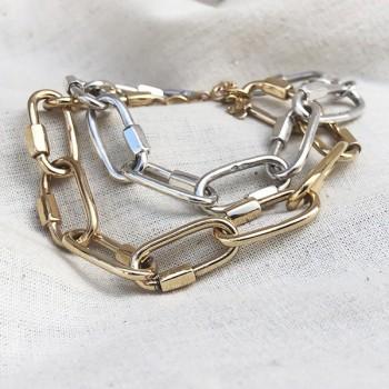 Bracelet grands maillons mousquetons en argent et plaqué or - Bijoux de créateur