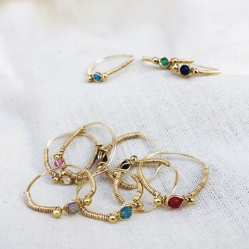 Bagues fil d'or ou d'argent  surmontée d'une pierre fine de couleur - Bijoux de créateur