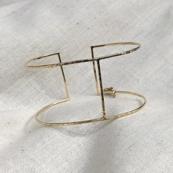 Manchette fine en plaqué or 1 barre ajustable - Bijoux fins de créateur