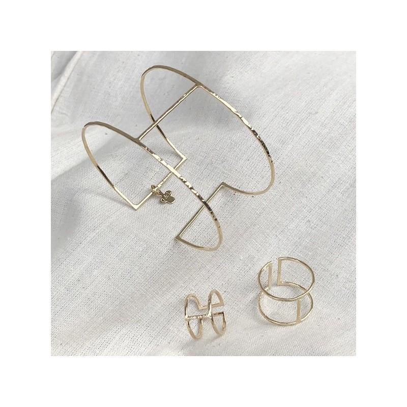 Manchette fine en plaqué or 1 barre ajustable - Bijoux de créateur