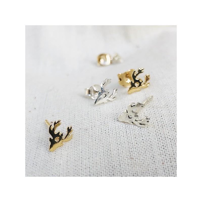 Boucles d'oreilles puce tête de Renne en plaqué or et Argent - Bijoux fins de créateur