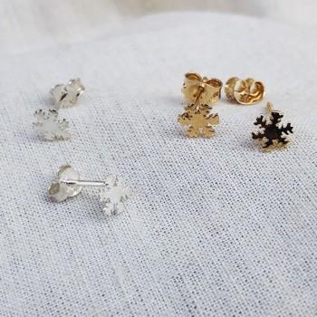 Boucles d'oreilles puce flocon de neige en plaqué or et Argent - Bijoux fins de créateur