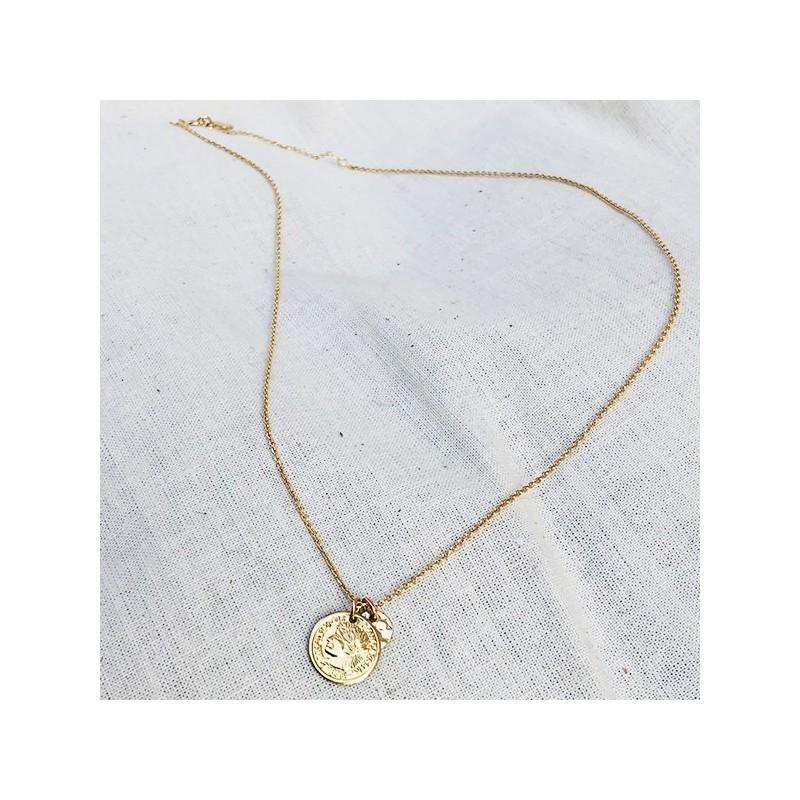 Collier sur chaine plaqué or médaille pièce de monnaie et médaille ronde martelée - Bijoux tendance
