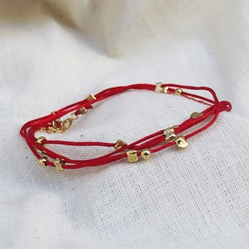 Bracelet lien rouge carmin perles en plaqué or - Bijoux fantaisie
