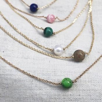 Collier sur chaine plaqué or pierres rondes de couleur - Bijoux délicat