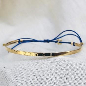 Jonc gravé message peace en plaqué or - bijoux fins et tendances