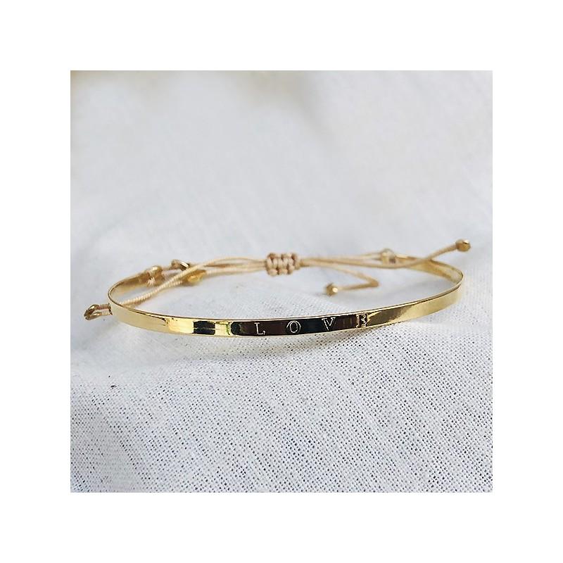 Jonc plaqué or avec message Love sur lien - bijoux moderne