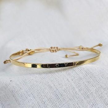 Jonc gravé message love en plaqué or - bijoux fins et tendances
