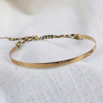 Jonc plaqué or lisse sur lien - bijoux moderne