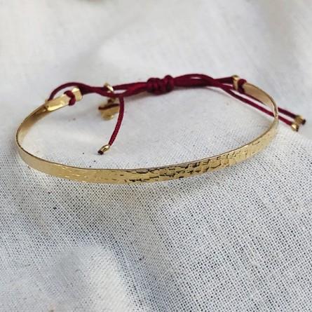 Jonc plaqué or martelé ajustable - bijoux fins et tendances