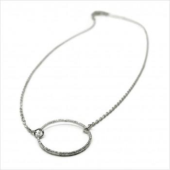 Collier anneau martelé 20 mm sur chaine en argent - Bijoux modernes
