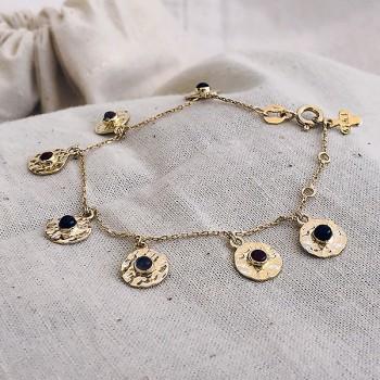Bracelet sur chaine plaqué or pampilles martelées pierres colorées - Bijoux fins de créateur