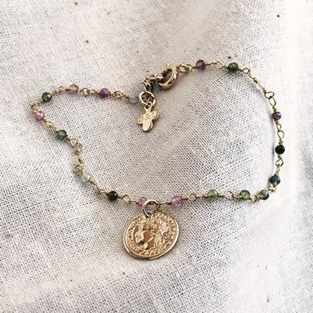 Bracelet chaine plaqué or pierre tourmaline multicolore médaille pièce de monnaie - Bijoux fins et tendances