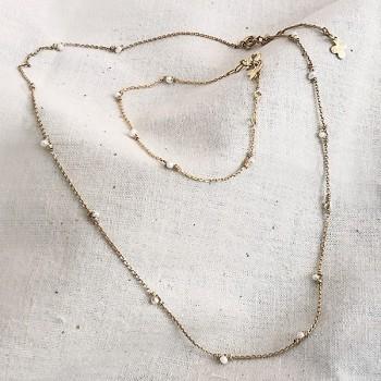 Bracelet sur chaine plaqué or orné de pierres fines perles d'eau douce - Bijoux tendance